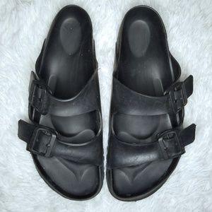 Birkenstock Black Rubber Strap Sandals 44